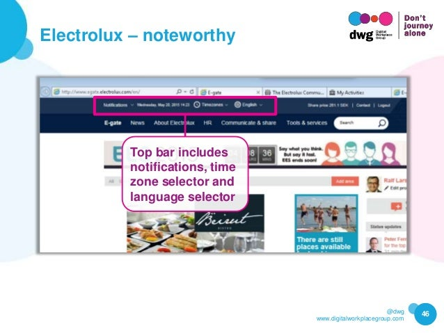 @dwg www.digitalworkplacegroup.com Electrolux – noteworthy 46 Top bar includes notifications, time zone selector and langu...