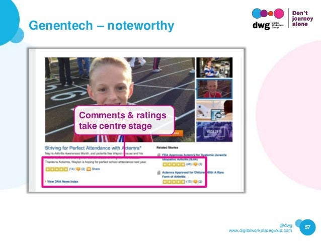 @dwg www.digitalworkplacegroup.com Genentech – noteworthy 57 Comments & ratings take centre stage
