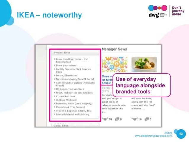 @dwg www.digitalworkplacegroup.com IKEA – noteworthy 63 Use of everyday language alongside branded tools