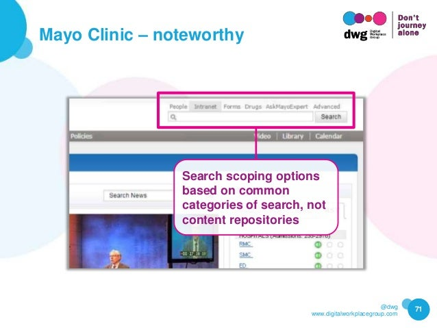 @dwg www.digitalworkplacegroup.com Mayo Clinic – noteworthy 71 Search scoping options based on common categories of search...