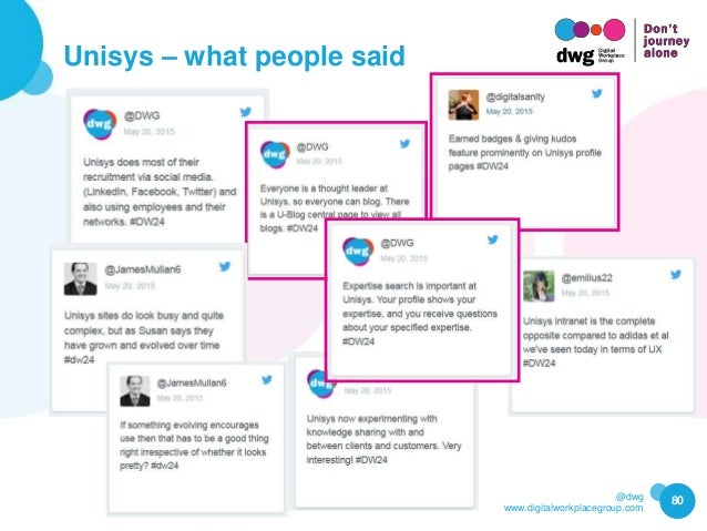 @dwg www.digitalworkplacegroup.com Unisys – what people said 80