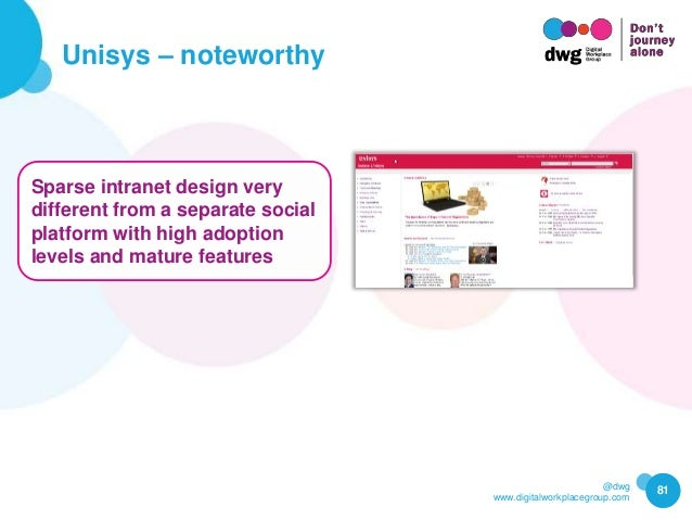 @dwg www.digitalworkplacegroup.com Unisys – noteworthy 81 Sparse intranet design very different from a separate social pla...