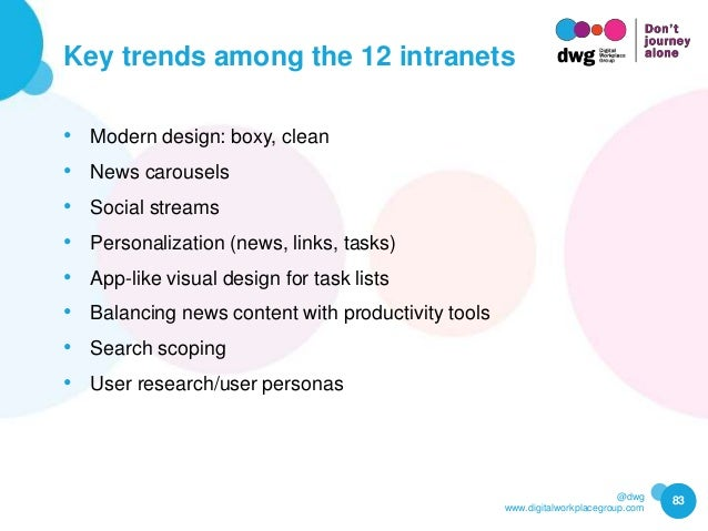 @dwg www.digitalworkplacegroup.com Key trends among the 12 intranets 83 • Modern design: boxy, clean • News carousels • So...