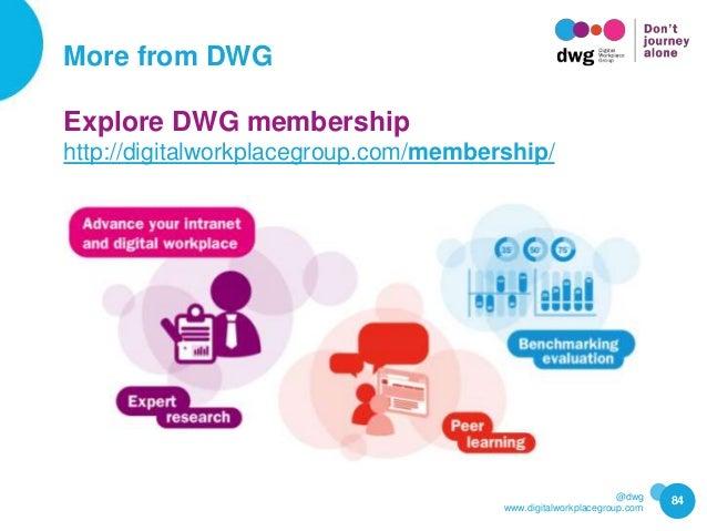 @dwg www.digitalworkplacegroup.com More from DWG 84 Explore DWG membership http://digitalworkplacegroup.com/membership/