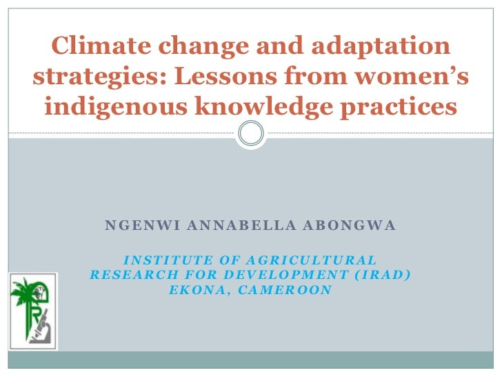 Climate change and adaptation strategies: Lessons from women's indigenous knowledge practices<br />NgenwiAnnabella Abongwa...