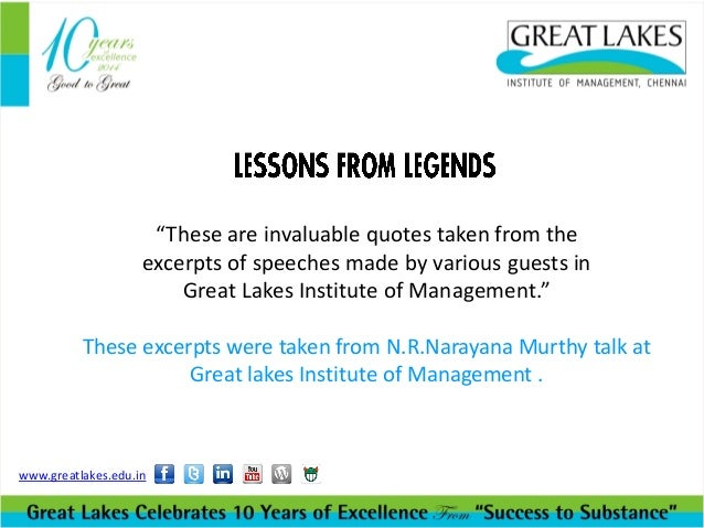 Inspiring words from Narayana Murthy - Lessons from legends Slide 2