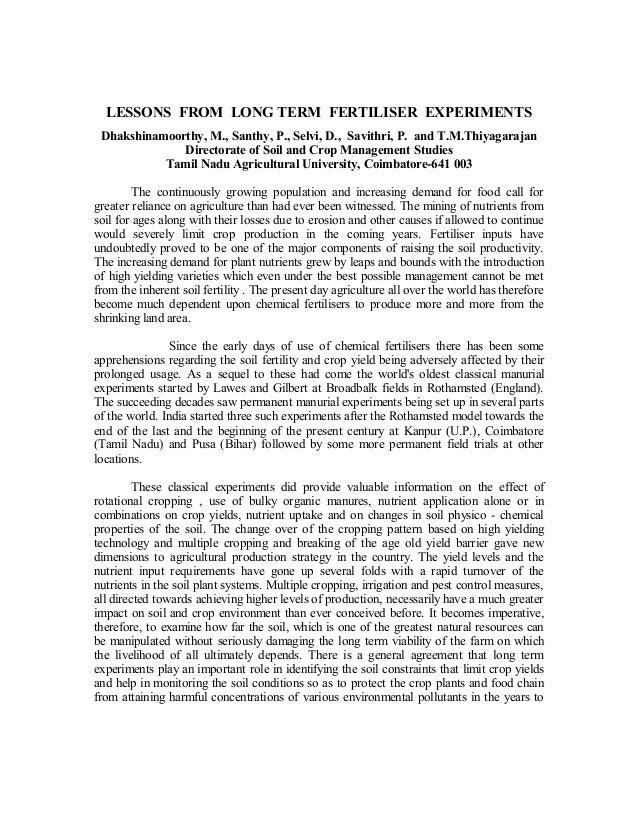 LESSONS FROM LONG TERM FERTILISER EXPERIMENTS Dhakshinamoorthy, M., Santhy, P., Selvi, D., Savithri, P. and T.M.Thiyagaraj...