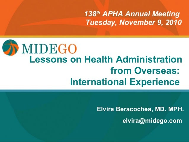 138th APHA Annual Meeting           Tuesday, November 9, 2010Lessons Title Page        on Health Administration           ...