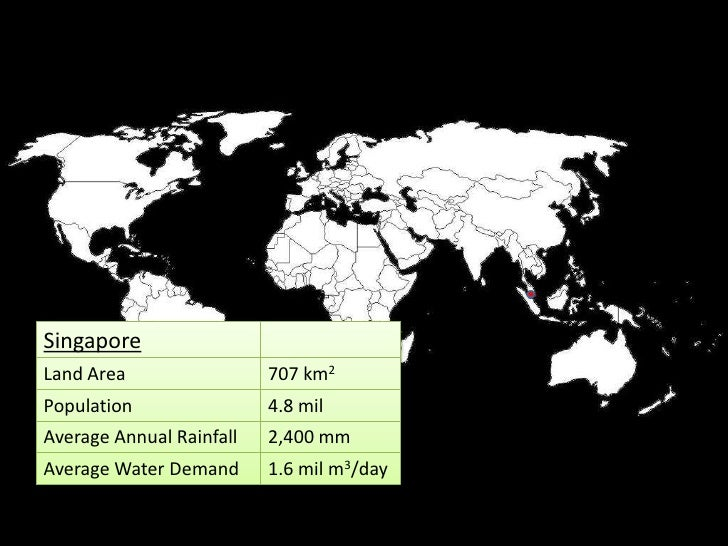 Singapore Land Area                 707 km2 Population                4.8 mil Average Annual Rainfall   2,400 mm Average W...