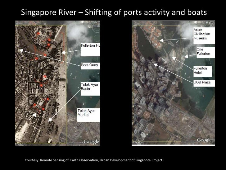 Singapore River – Shifting of ports activity and boats      Courtesy: Remote Sensing of Earth Observation, Urban Developme...