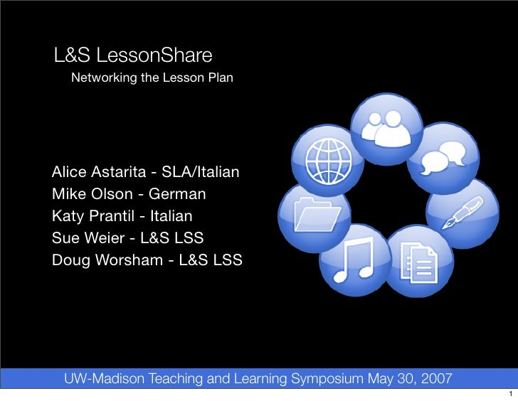 L LessonShare   Networking the Lesson Plan     Alice Astarita - SLA/Italian Mike Olson - German Katy Prantil - Italian Sue...