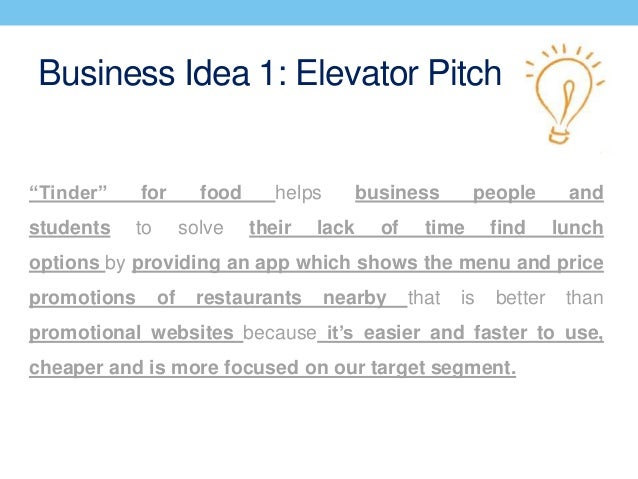 The startup elevator pitch.