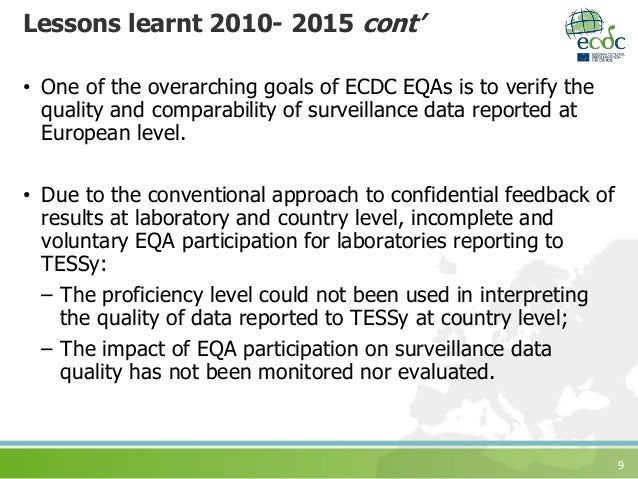 9 Lessons learnt 2010- 2015 cont' • One of the overarching goals of ECDC EQAs is to verify the quality and comparability o...