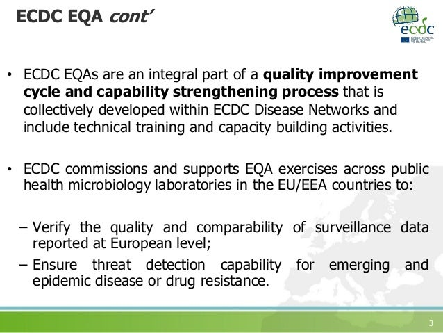 3 ECDC EQA cont' • ECDC EQAs are an integral part of a quality improvement cycle and capability strengthening process that...