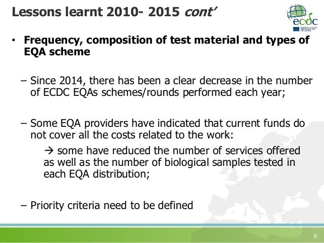 6 Lessons learnt 2010- 2015 cont' • Frequency, composition of test material and types of EQA scheme – Since 2014, there ha...