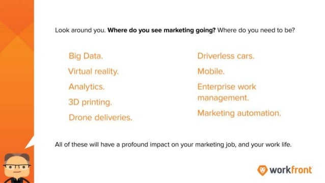 Look around you. Where do you see marketing going? Where do you need to be? Big Data. Virtual reality. Analytics. 3D print...