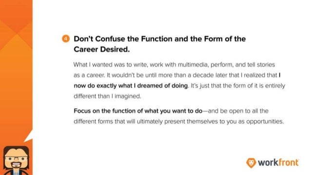 4. Don't confuse the function and the form of the career I desired. What I wanted was to write, work with multimedia, perf...