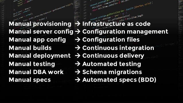 Manual provisioning  à Infrastructure as code Manual server config à Configuration management Manual app config  à Configu...