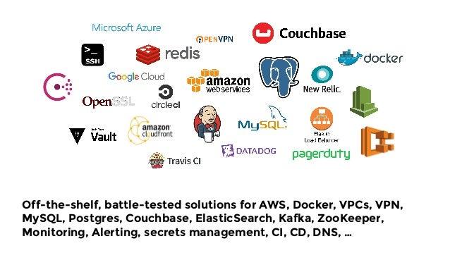 Off-the-shelf, battle-tested solutions for AWS, Docker, VPCs, VPN, MySQL, Postgres, Couchbase, ElasticSearch, Kafka, ZooKe...