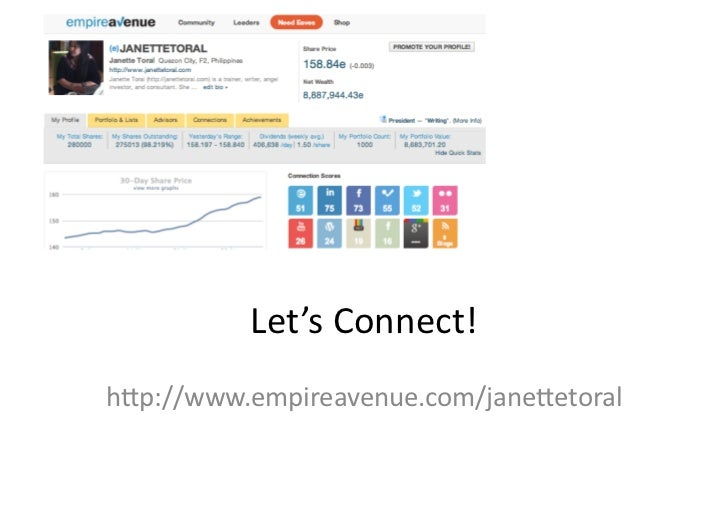 Let's	  Connect!	  h6p://www.empireavenue.com/jane6etoral