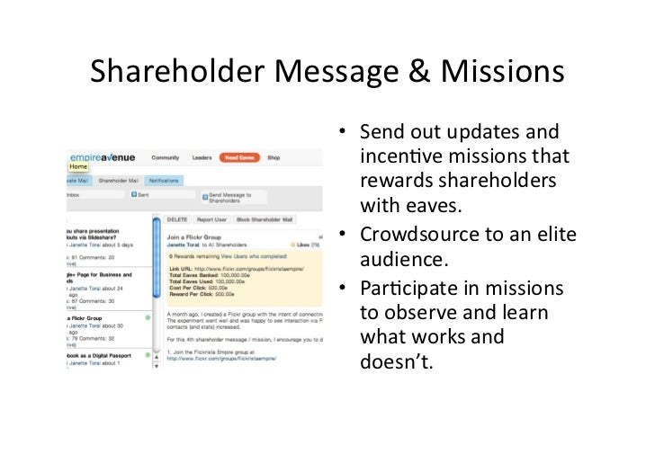 Shareholder Message & Missions                       • Send out updates and                          ince...