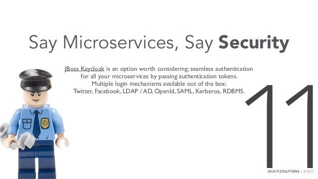 Say Microservices, Say Security JBoss Keycloak is an option worth considering; seamless authentication for all your micros...
