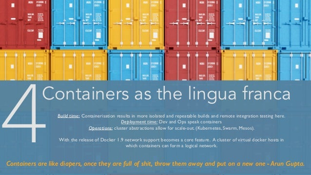 Containers as the lingua franca Build time: Containerisation results in more isolated and repeatable builds and remote int...
