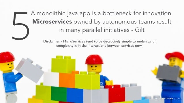 A monolithic java app is a bottleneck for innovation. Microservices owned by autonomous teams result in many parallel init...