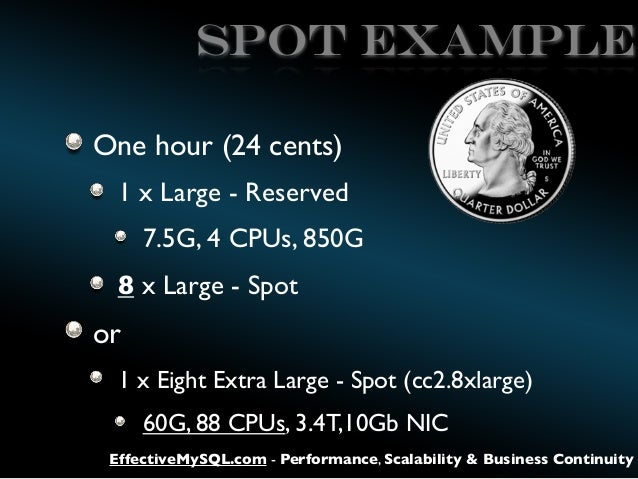 SPOT EXAMPLE One hour (24 cents) 1 x Large - Reserved 7.5G, 4 CPUs, 850G 8 x Large - Spot  or 1 x Eight Extra Large - Spot...