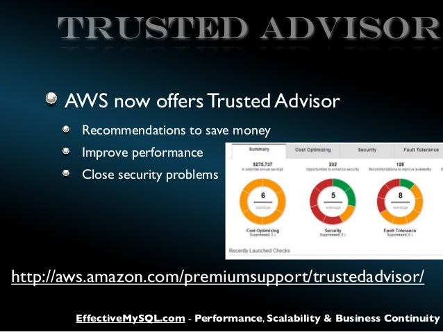 TRUSTED ADVISOR AWS now offers Trusted Advisor Recommendations to save money Improve performance Close security problems  ...