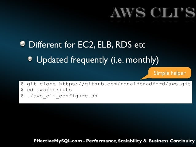 AWS CLI's Different for EC2, ELB, RDS etc Updated frequently (i.e. monthly) Simple helper $ git clone https://github.com/r...