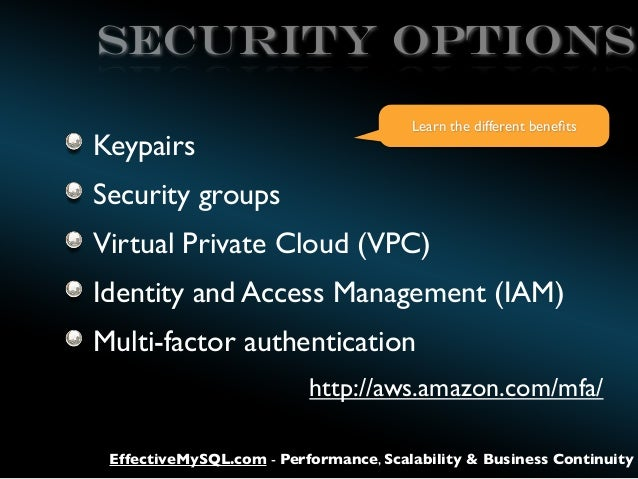 SECURITY OPTIONS Keypairs  Learn the different benefits  Security groups Virtual Private Cloud (VPC) Identity and Access Ma...