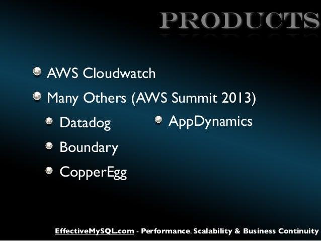products AWS Cloudwatch Many Others (AWS Summit 2013) Datadog  AppDynamics  Boundary CopperEgg  EffectiveMySQL.com - Perfo...