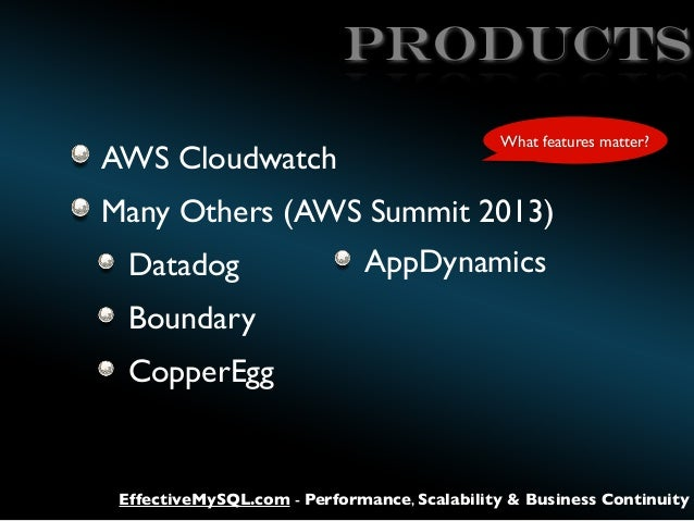 products AWS Cloudwatch  What features matter?  Many Others (AWS Summit 2013) Datadog  AppDynamics  Boundary CopperEgg  Ef...