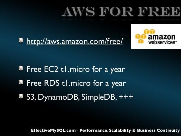 AWS for FREE http://aws.amazon.com/free/ Free EC2 t1.micro for a year Free RDS t1.micro for a year S3, DynamoDB, SimpleDB,...