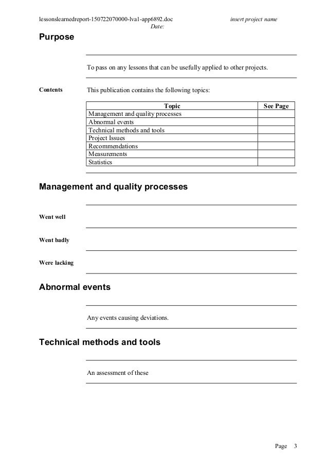 It project lessons learned template gallery templates design ideas prince 2 project managment document lessons learned report pronofoot35fo gallery pronofoot35fo Choice Image