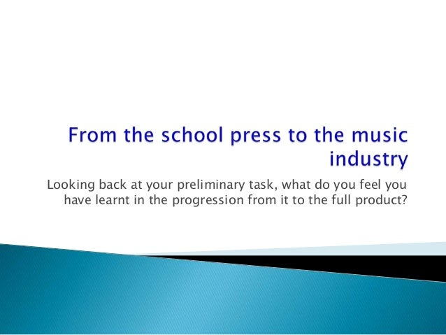 Looking back at your preliminary task, what do you feel youhave learnt in the progression from it to the full product?