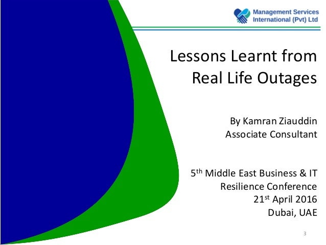 5th Me Business Amp It Resilience Summit 2016 Lessons