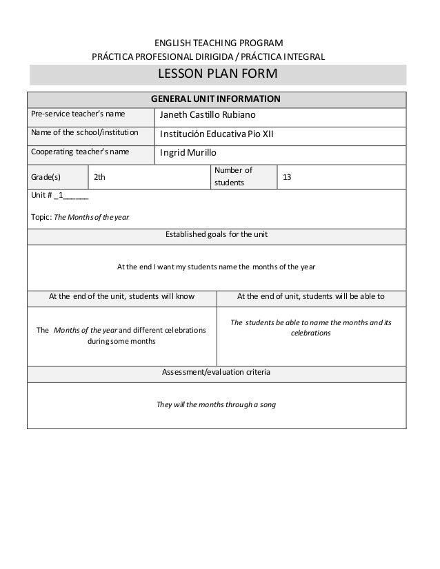 Lessons plans second grade