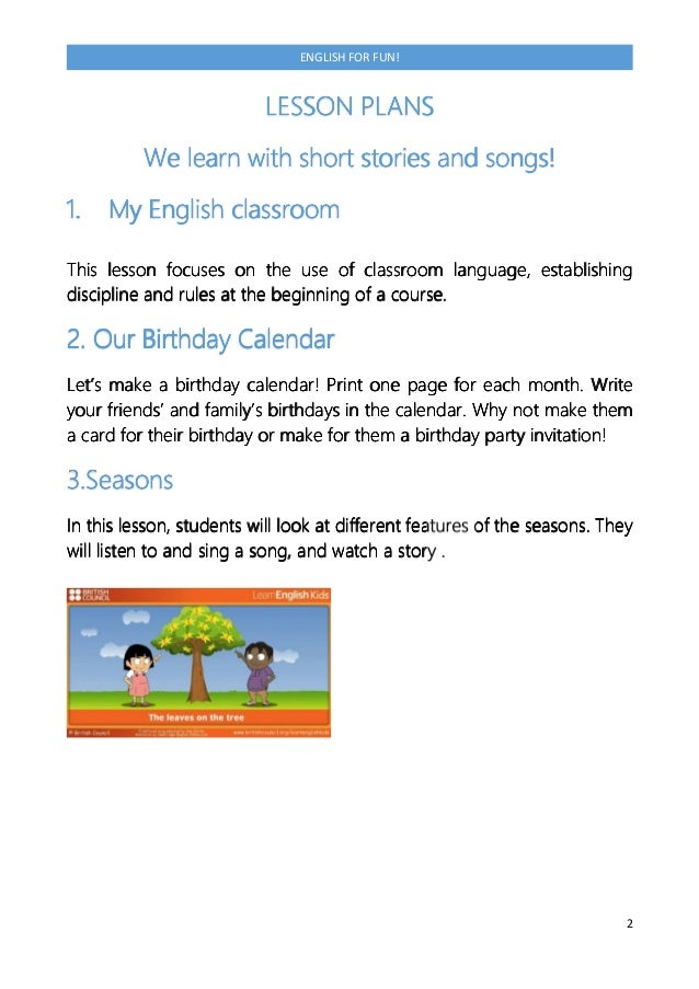 Lessons plans a1 for primary school 8 9 years 3 2 english stopboris Gallery