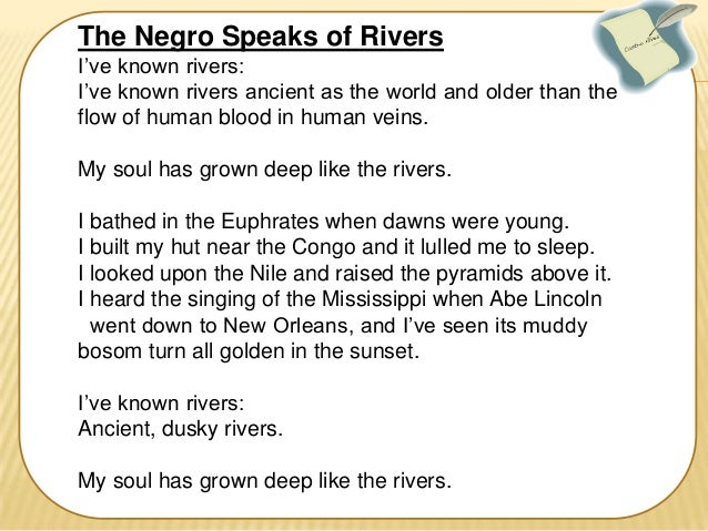 """interpretation of """"the negro speaks of """"the negro speaks of rivers"""" an african centered historical study of the selfethnic liberatory this study provided a new meaning construct for using."""