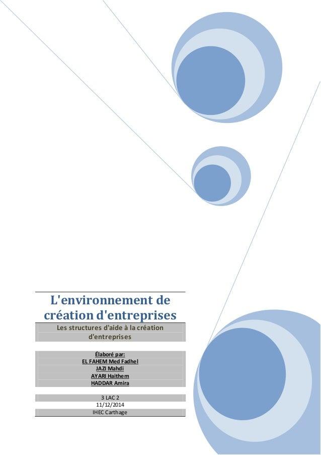 L'environnement de création d'entreprises Les structures d'aide à la création d'entreprises Élaboré par: EL FAHEM Med Fadh...
