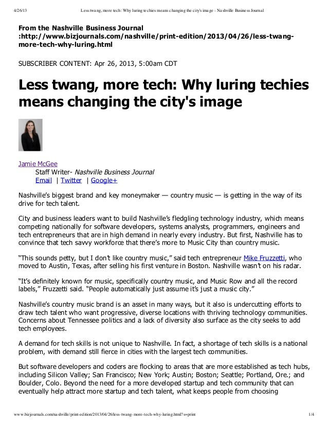 4/26/13 Less twang, more tech: Why luring techies means changing the citys image - Nashville Business Journalwww.bizjourna...