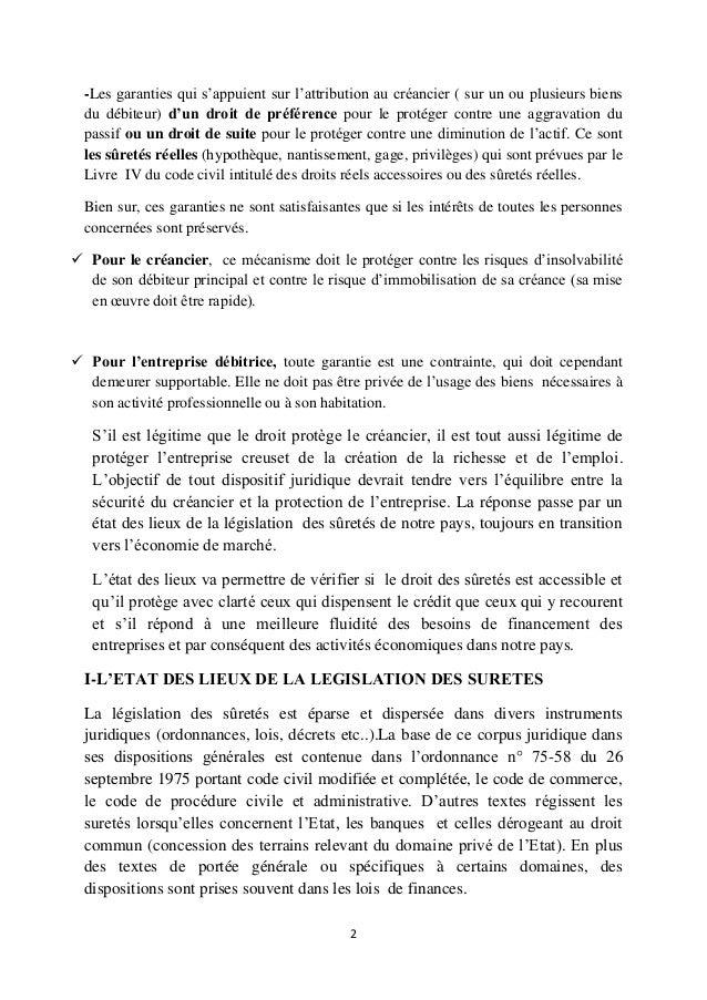 Les suretes dans le droit positif algerien - Article 673 code civil ...