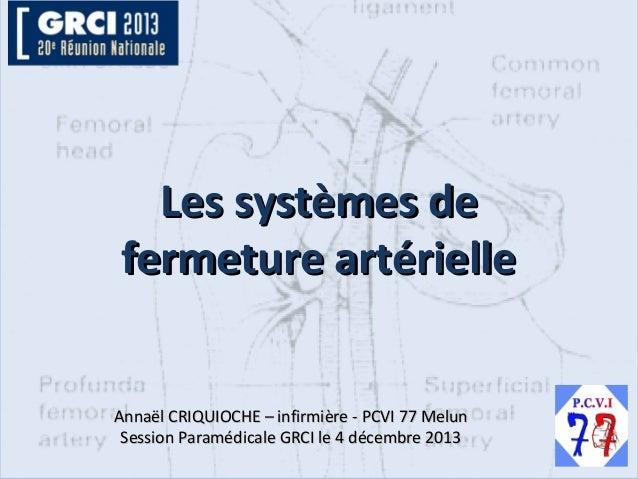 Les systèmes de fermeture artérielle Annaël CRIQUIOCHE – infirmière - PCVI 77 Melun Session Paramédicale GRCI le 4 décembr...