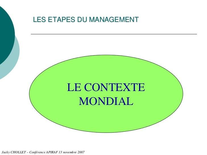 LES ETAPES DU MANAGEMENT                                       LE CONTEXTE                                         MONDIAL...