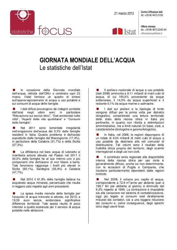 21 marzo 2012                      GIORNATA MONDIALE DELL'ACQUA                      Le statistiche dell'Istat      In oc...