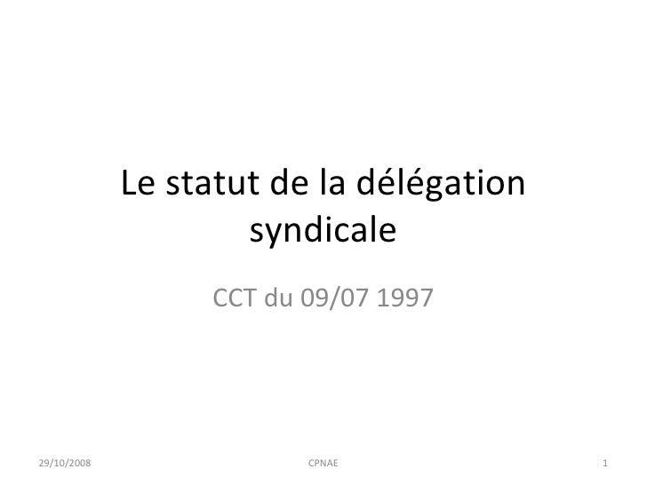 Le statut de la délégation syndicale CCT du 09/07 1997 29/10/2008 CPNAE