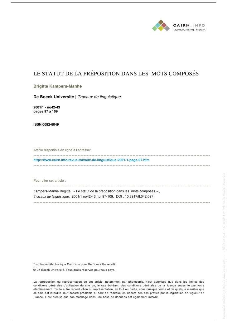 LE STATUT DE LA PRÉPOSITION DANS LES MOTS COMPOSÉS                                                                        ...
