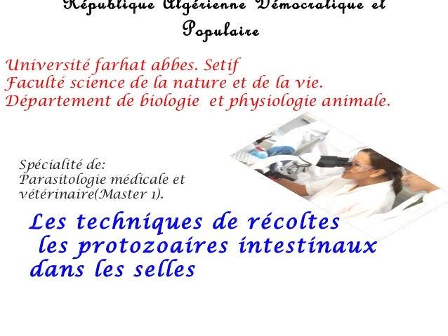 République Algérienne Démocratique et                    PopulaireUniversité farhat abbes. SetifFaculté science de la natu...